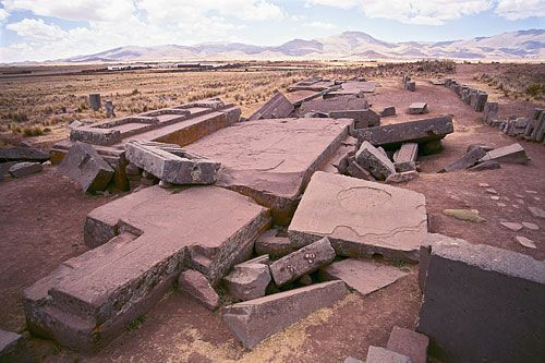 The stones of Puma Puncu. The remains of a great wharf near Lake Titicaca. Stones here weigh up to 440 tons, yet at the time they were quarried, approx. AD500, the culture was assumed to only have reed boats to transport with. Some stones are incredibly cut, to very exact standards, and even have a modular design that stoneworkers today would find near impossible to achieve.