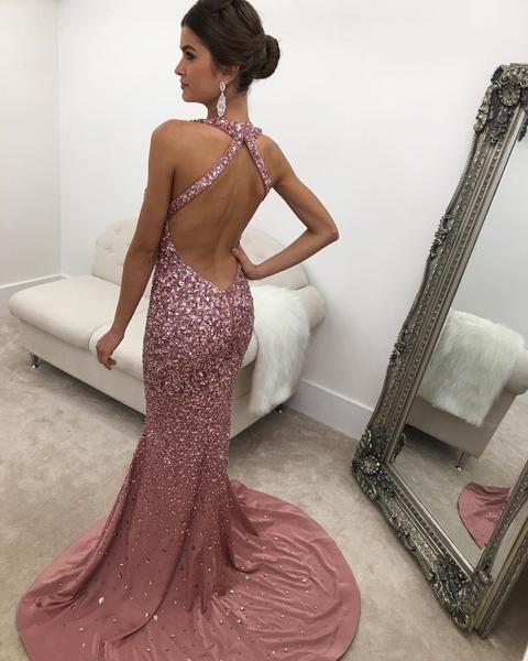 483e6c897c37 Halter Heavy Beading Glitter Prom Dresses Mermaid Open Back Evening Dr –  Hoprom