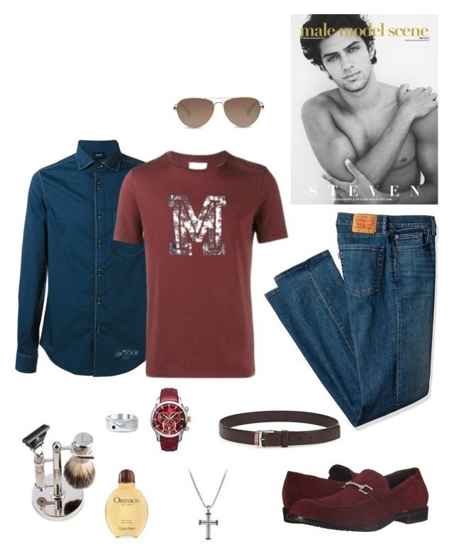 """Untitled #755"" by lianatzelese on Polyvore featuring Stacy Adams, Levi's, Bey-Berk, Calvin Klein, TOMS, Armani Jeans, Maison Margiela, David Yurman, Allurez and Paul Smith"