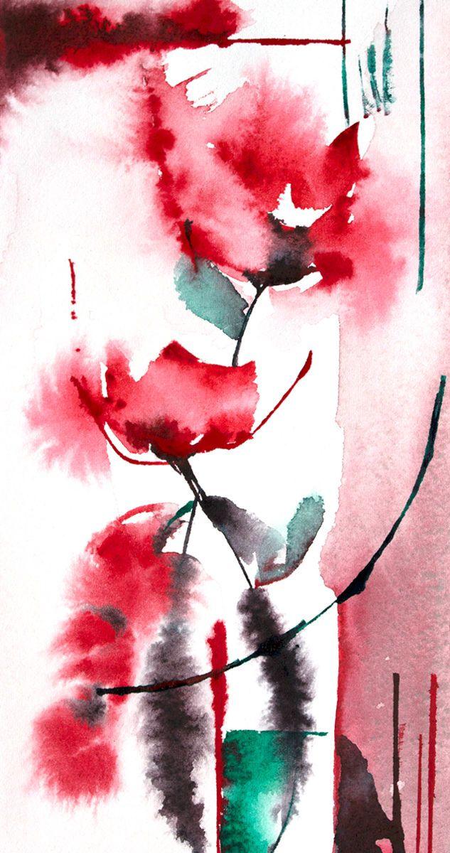 Petit instant N° 302 (Peinture), 20x10 cm par Véronique Piaser-Moyen Aquarelle originale sur papier 300 G