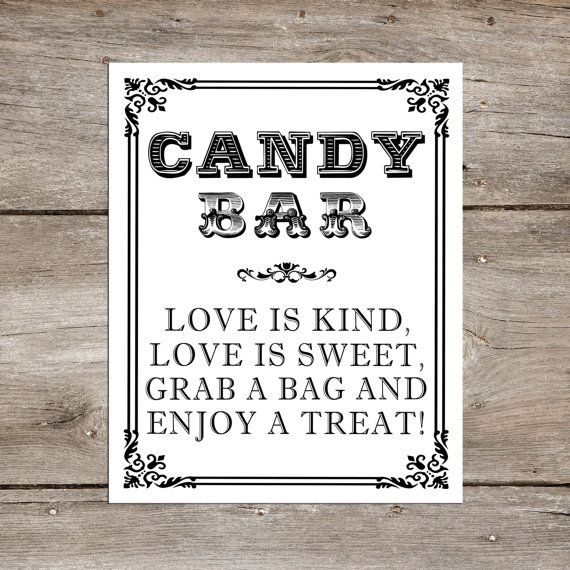 INSTANT DOWNLOAD - Candy Bar Wedding sign - Love is Kind, Love is Sweet, Grab a Bag, Enjoy a Treat  - Candy Buffet Table 8 x 10 or 5 x 7