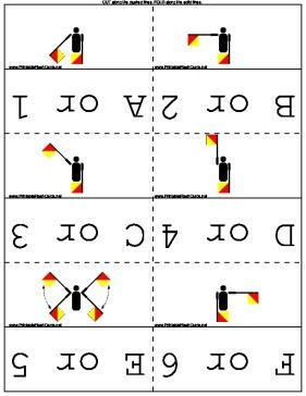 Learn and practice reading messages sent via flag semaphore with this set of flash cards. Free to download and print