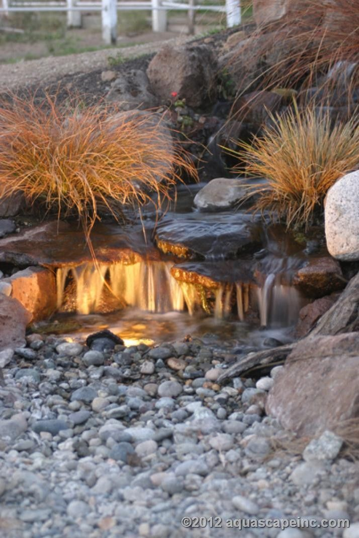 Waterfall with LED Lighting: Love the lights and the larger river rocks