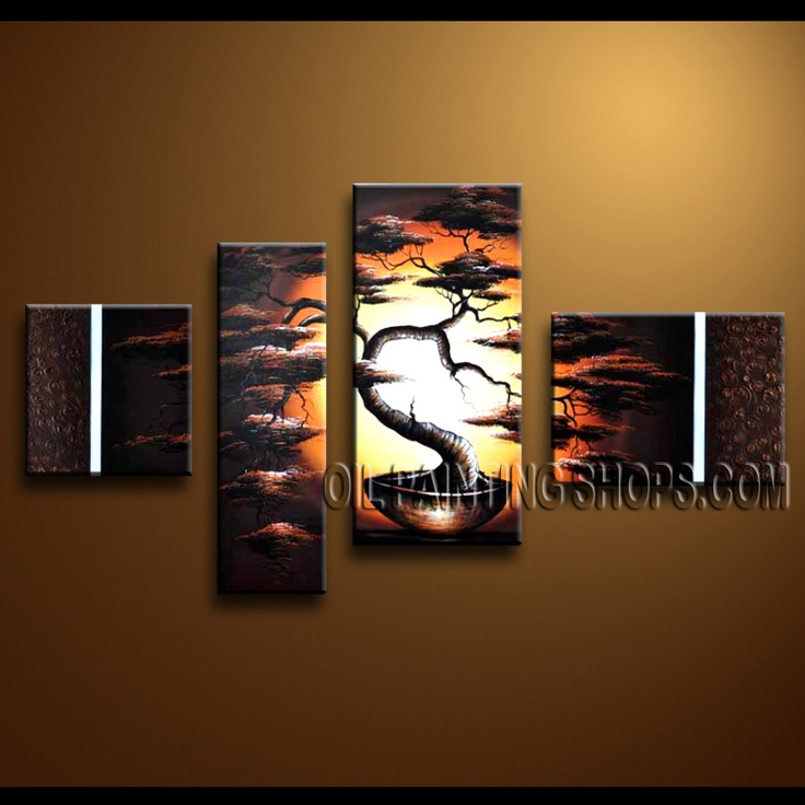 Primitive Contemporary Wall Art Hand-Painted Art Paintings For Living Room Landscape. This 4 panels canvas wall art is hand painted by Anmi.Z, instock - $135. To see more, visit OilPaintingShops.com
