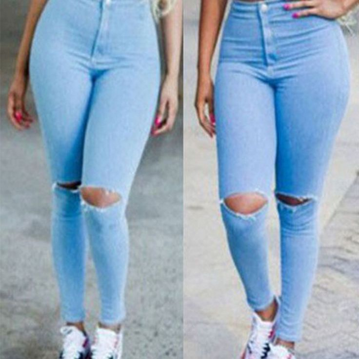 Women's Hole Jeans With High Waist 2016 Spring  Pencil Leggings Autumn Knee Hole Jeans Denim Pants Sexy Skinny Jeans For Women