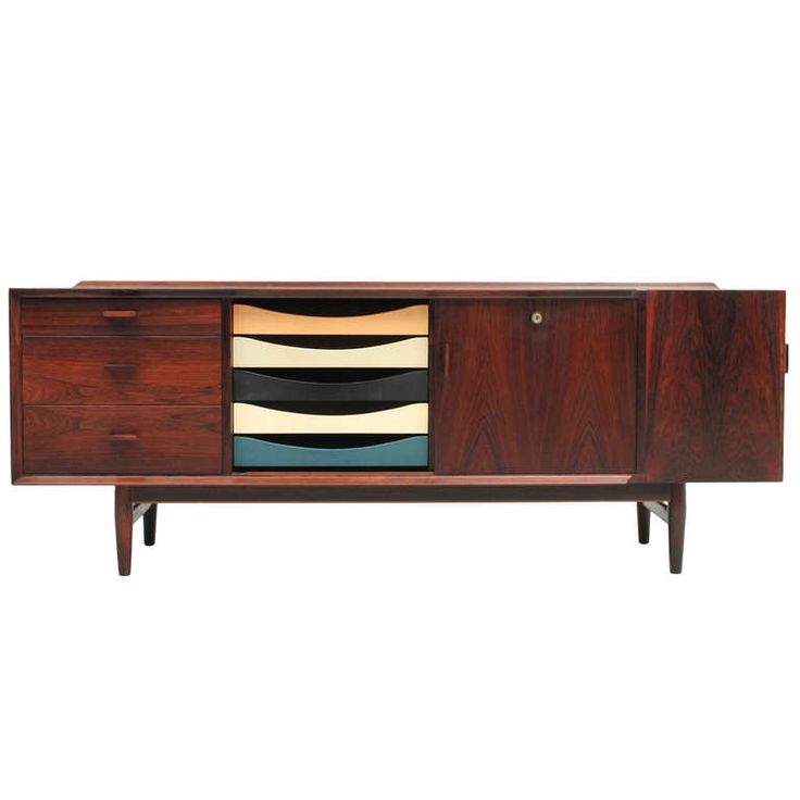 20th Century Scandinavian Design Low Rosewood Sideboard   From a unique collection of antique and modern sideboards at http://www.1stdibs.com/furniture/storage-case-pieces/sideboards/
