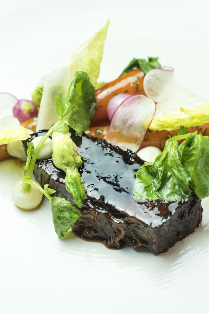 Alyn Williams matches perfectly tender Irish beef brisket with vibrant, buttery vegetables and a salty oyster emulsion in this stunning dish. This recipe requires a little forward planning as the brisket is first brined for a week and then slowly braised, but the resulting rich, intense flavour is more than worth the effort. Alexanders can be foraged locally in Britain, but if you can't source these you could use the leaves from the turnips instead.