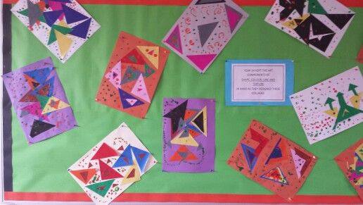 Shape, color and line collage by Grade 1.