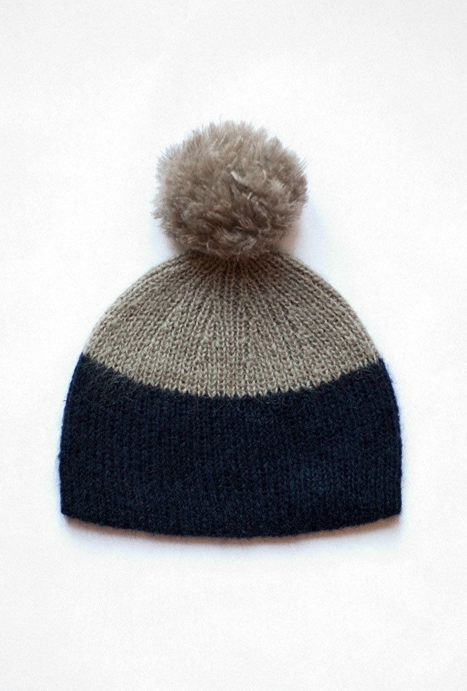 Kid Mohair Bobble Hat – Beige/Navy- was £75 - Colenimo