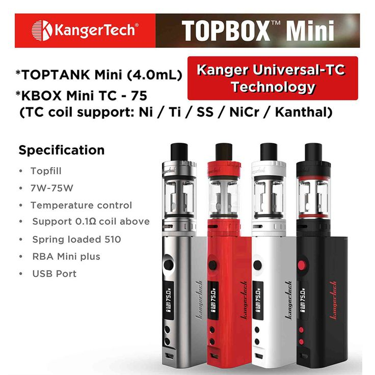 Kanger TOPBOX Vaporizer Starter Kit + Vaporizer. Comes with 18650 Battery, 5 x extra Coils and two bottles of E-Liquid. 75Watt Mod and tank. Captain Vapour NZ.