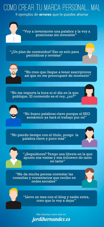 9 errores al crear tu Marca Personal. #infografia #marketing