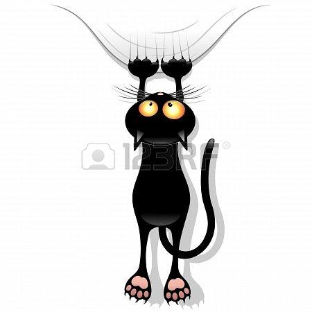Funny Cat Cartoon Scratching Curtain