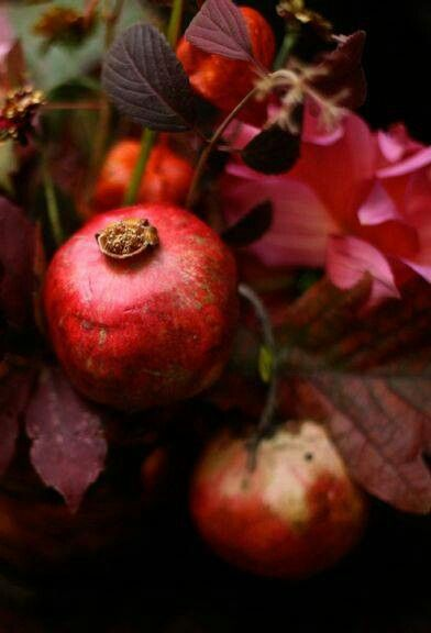 Rich colors of red pomegranates.