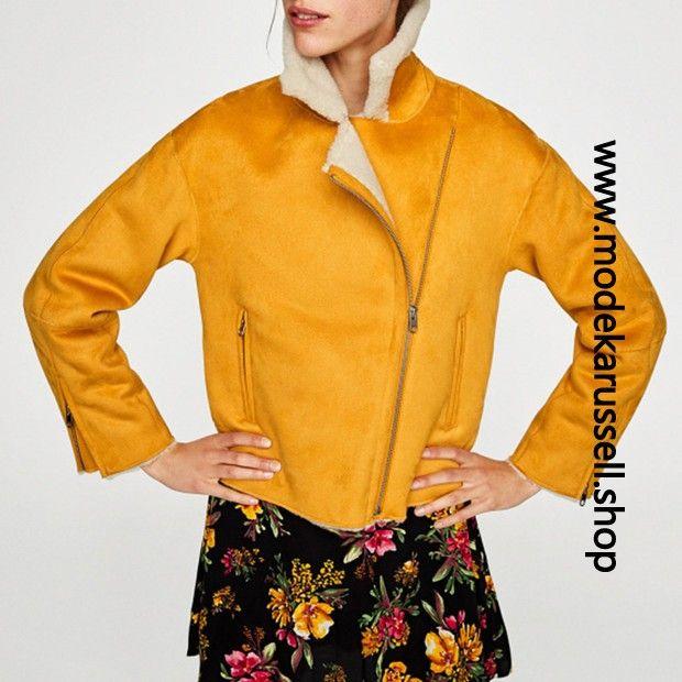 Damen Mantel in Gelb mit Weissem Fell Innen