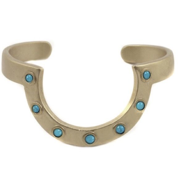 [2 Bandits]horizoncuff Adjustable and made with howlite turquoise detail, this cuff has the western style down. By: 2 Bandits. Made in San Francisco. Fiber Content: 22k gold plated. No PayPal + No Trades. Price Firm. 2 Bandits Jewelry Bracelets