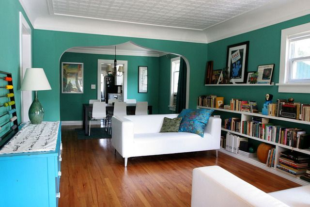 Thinking About This Teal Wall Color With White Accents And