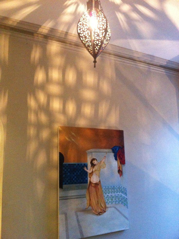 Paintings by Tara Green are throughout Moorish Blue Sydney