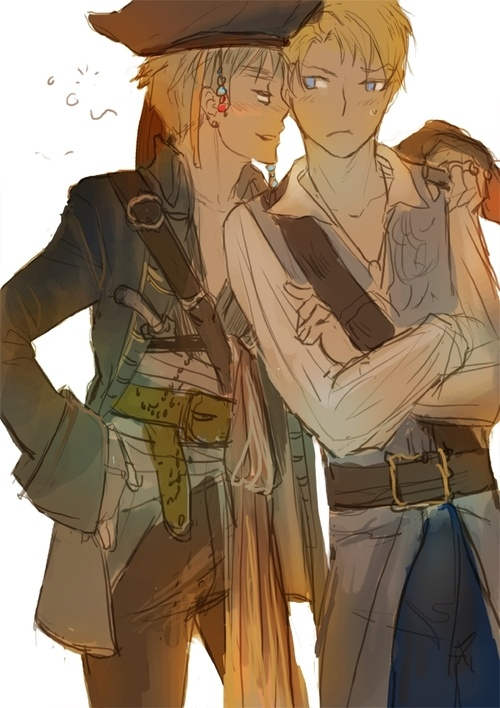 Pirates - Captain Arthur Kirkland (England) and First Mate Alfred F. Jones (America)