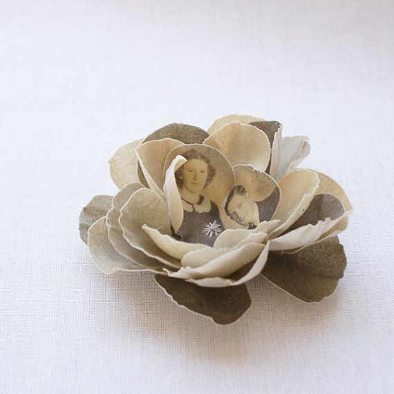 Custom made flower brooch with your picture by PuurAnders on Etsy