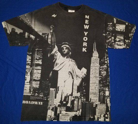 d8b3b356 Vintage 1998 Edward Teez New York City NY All Over Print Graphic Tshirt  Size Medium Statue of Liberty World Trade Center Brooklyn Bridge   My Etsy  Shop ...