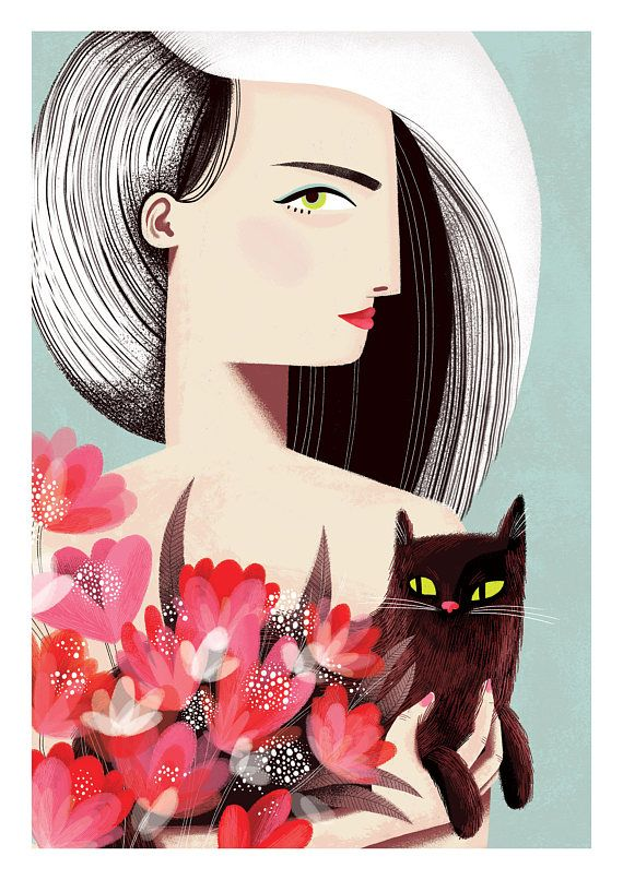 Cat print Floral print Cat Lovers gift Crazy Cat Lady gift