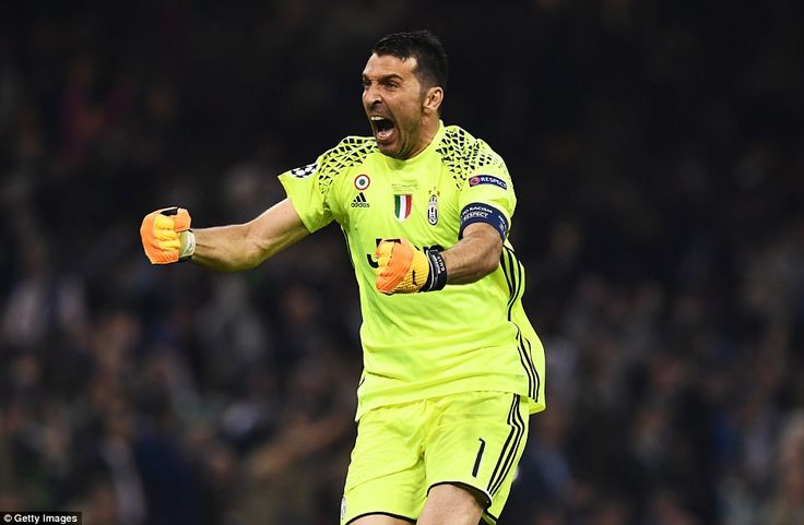 Buffon - playing in perhaps his last Champions League final at the age of 39 - screams in celebration after Juventus' equaliser