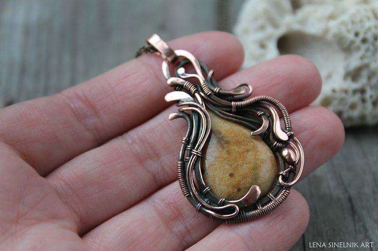 Collana di rame filo avvolto gioielli gioielli Jasper ciondolo