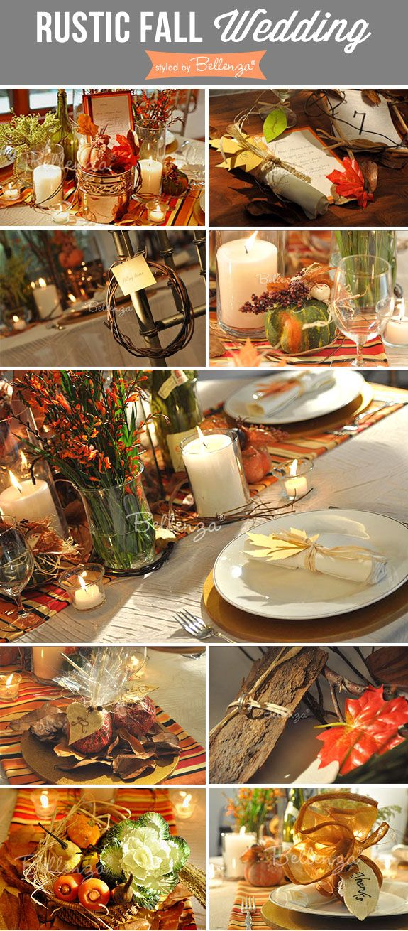Rustic fall wedding inspiration from Bellenza with country chic touches. #fallweddings #rusticweddings #thanksgivingweddings