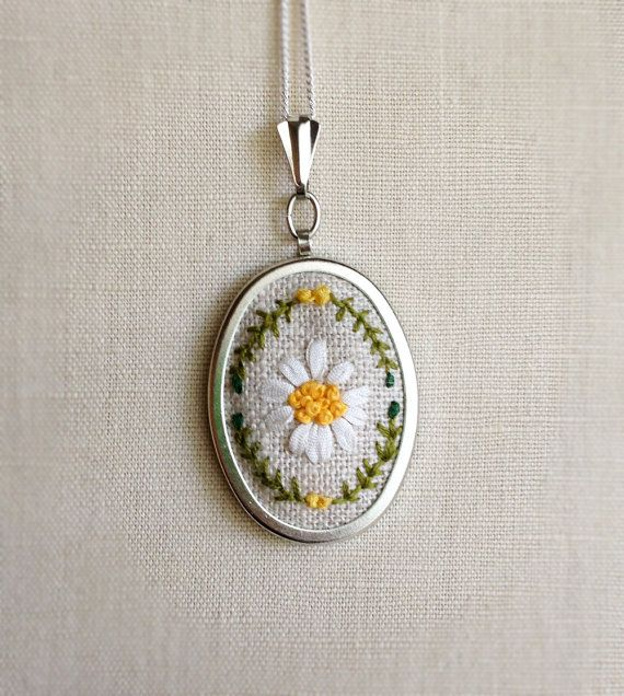 Silk Ribbon Embroidery Embroidered Necklace by TheMarshWrenShop