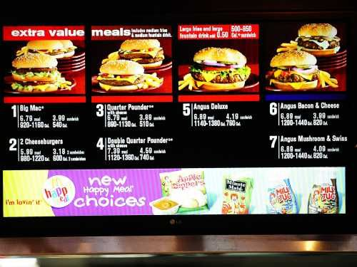 Do Restaurant Menu Labels Work? New Study Findings. If you look at the menu on the McDonalds breakfast layout, not only are the mouthwatering items mentioned but also the calories or the range of it depends on what customization you choose. That may be all well but when someone is faced with their favorite blueberry scone, how many would still go for it even when the men says that it packs in 400 calories or more? The answer is that you will probably still go ahead for it. Th