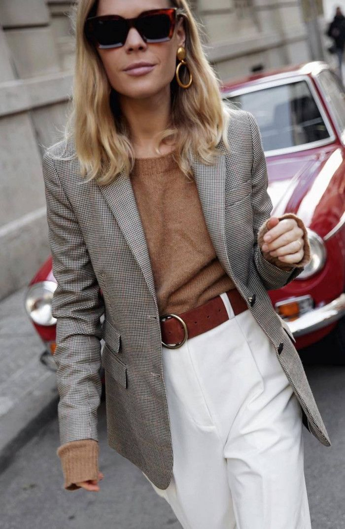 8398d0aa66c office outfit idea for this fall   grey blazer + brown sweater + white pants