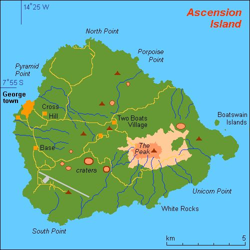 map of ascension island and information page