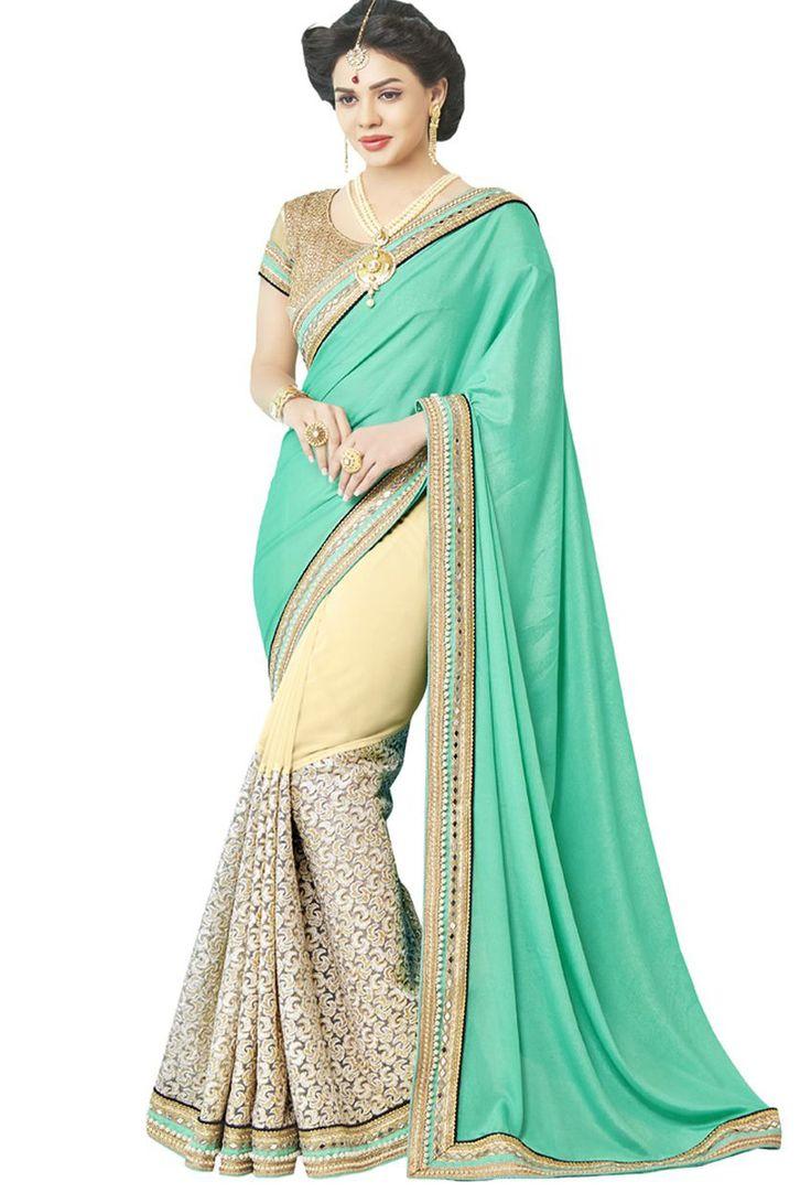 Green,#Beige Georgette,Jacquard Half N Half #Saree #nikvik  #usa #designer #australia #canada #freeshipping #dress #saris