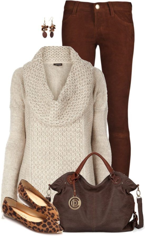 Brown Jeans with Cozy Cowl Neck Jumper and Leopard Flats Fall Outfit                                                                                                                                                                                 More
