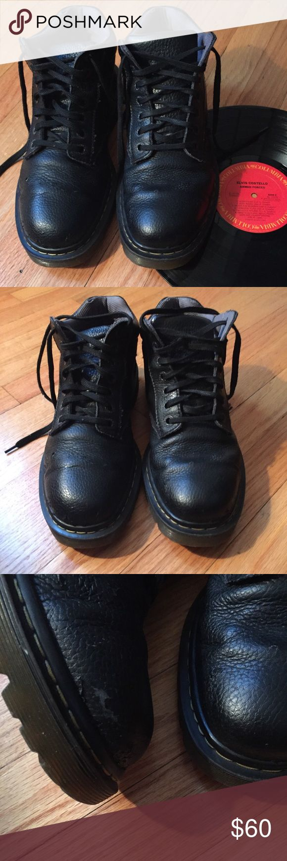 Dr. Marten's Men's Boots Size 11 Black Leather Dr. Marten's Men's Boots Size 11 Black Leather  GUC -minor wear at the toe -still have a lot of life left! Dr. Martens Shoes Boots