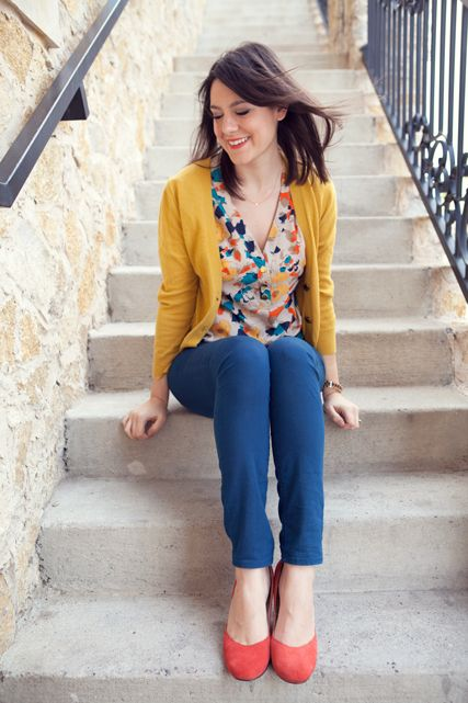 Alright Spring brights... bring it on.: Spring Color, Color Combos, Bright Color, Primary Color, Blue Pants, Color Combinations, Kendi Everyday, Mustard Cardigans, Mustard Yellow