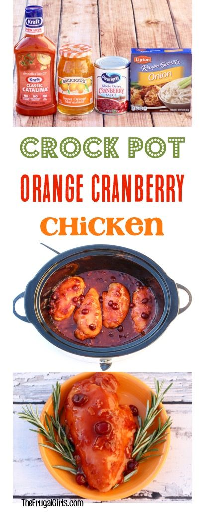 Crock Pot Orange Cranberry Chicken Recipe! Such a delicious Fall slow cooker dinner! | TheFrugalGirls.com