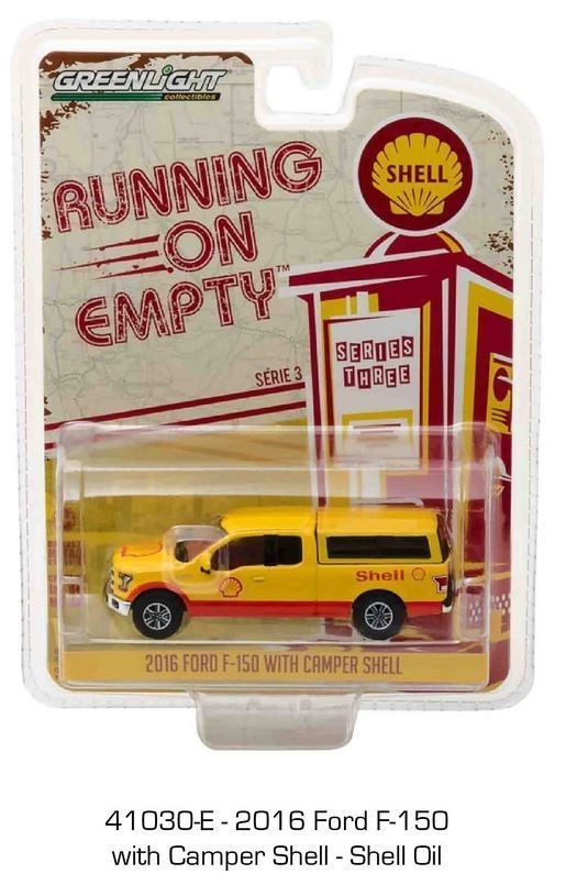 1:64 Greenlight Running on Empty Series 3 -  2016 Ford F1-50 with Camper Shell #GreenLight #Ford