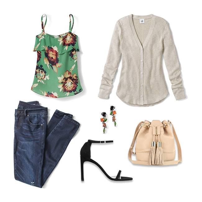 As seen on our blog, get inspired by StushiGal Style's transitional style!  Wear the Bloom Cami now with bare arms and later with the cozy Shirttail Cardigan.   jeanettemurphey.cabionline.com - Open 24/7