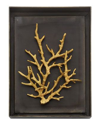 """Wall art made of oxidized aluminum and natural brass. 10.25""""W x 2""""D x 13.75""""T. Imported. Weight, 5 lbs. Boxed weight, approximately 7 lbs."""