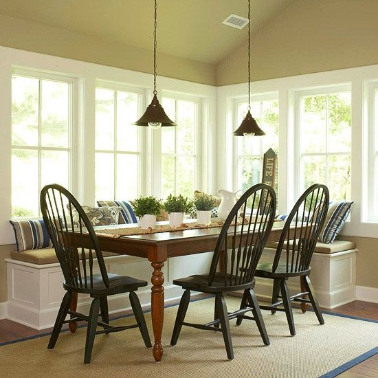 Dining table with corner bench love this no link but Pretty dining rooms