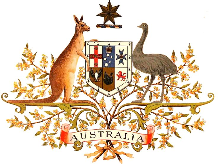 The original drawing of the Coat of Arms of Australia, the official symbol of Australia. The initial coat of arms was granted by King Edward VII on May 7 1908, and the current version, shown here, was granted by King George V on September 19 1912. certified copy of the Royal Warrant granting Armorial Ensigns and Supporters to the Commonwealth of Australia.