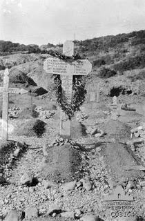 This photo is of a memorial cross for the non Commissioned Officers and men of the 1st Field Company Australian Engineers who were killed or wounded in action on the Gallipoli Peninsula. This memorial was erected in the cemetery in which the men were buried by their company