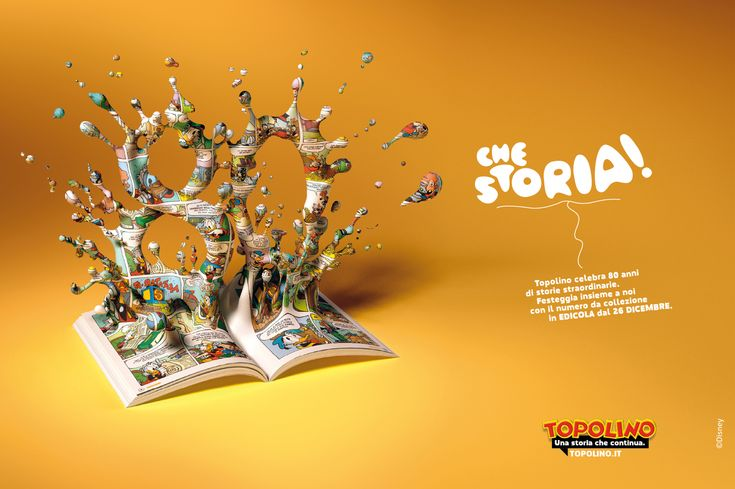 Now that's a story!  Topolino magazine celebrates 80 years of comic stories with a special issue.    Advertising Agency: Now Available, Milan, Italy  Creative Director: Marco Peyrano  Art Director: Matteo Ruisi  Copywriter: Paolo Platania  Illustrator: Livio Ansaldi  Published: December 2012