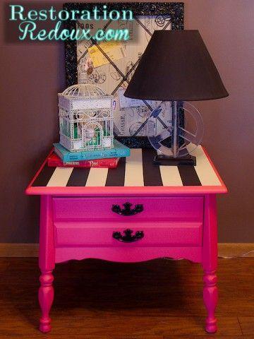 www.restorationredoux.com Pink Striped Table