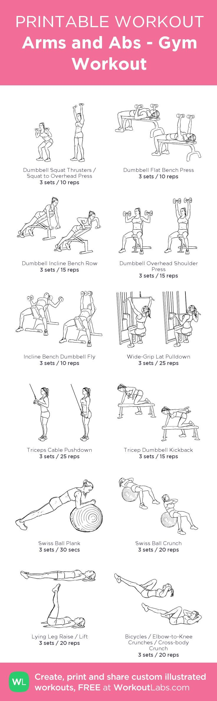 Arms and Abs - Gym Workout – my custom workout created at WorkoutLabs.com • Click through to download as printable PDF! #customworkout
