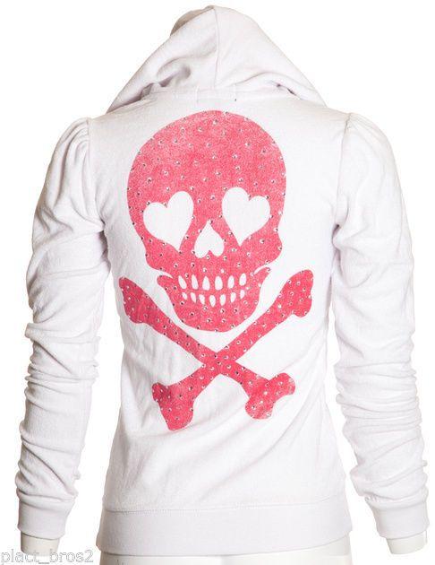 Sinful AFFLICTION Women Hoodie Sweat Shirt Jacket Top LUNAR Skull Biker XS-M $98 #Affliction #Hoodie
