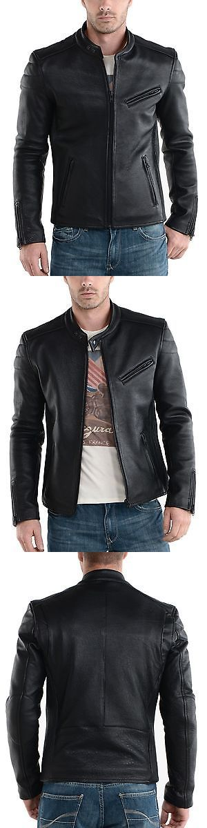 Men Coats And Jackets: Jacket Leather Motorcycle New Mens Slim Biker Coat Genuine Black Fit Lambskin 05 -> BUY IT NOW ONLY: $115 on eBay!