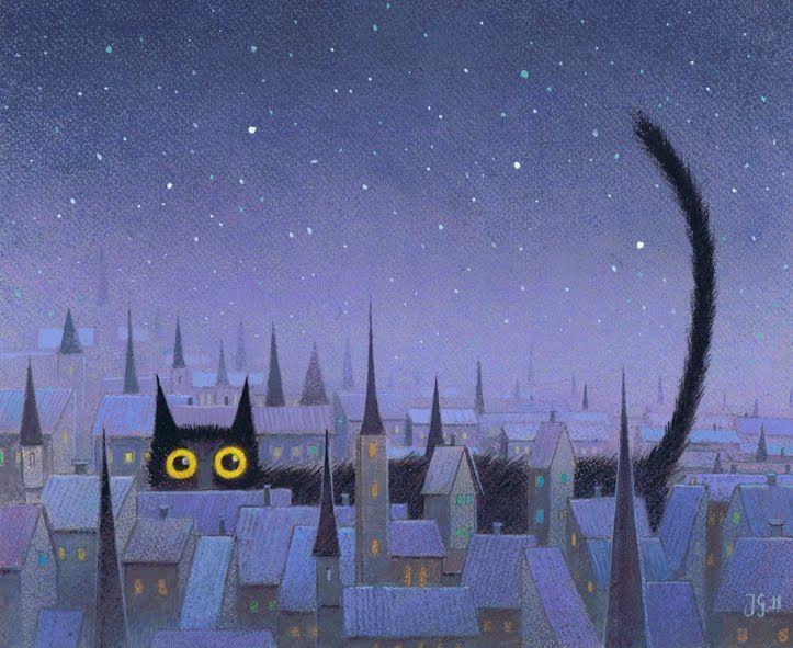 """Polish children's illustration """"Black Cat"""" by Jerzy Głuszek. 2011."""