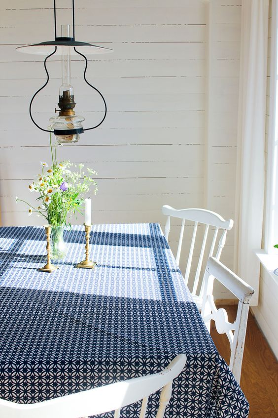 A simple, farmhouse dining room.  volang.elledecoration.se